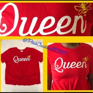❤️ Red Queen Bee Tee Shirt Plus Size Curvy